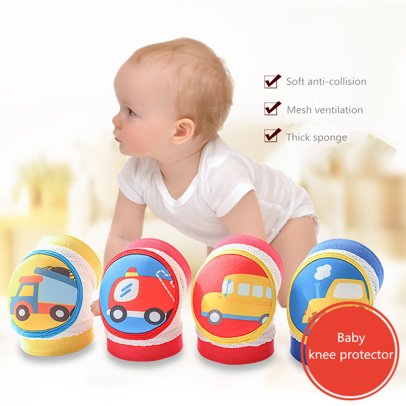 1pair Baby Knee Pads Protection Kids Safety Crawling KneePads Cartoon Breathable Mesh Infant Toddler Knee Brace Cap For Sports