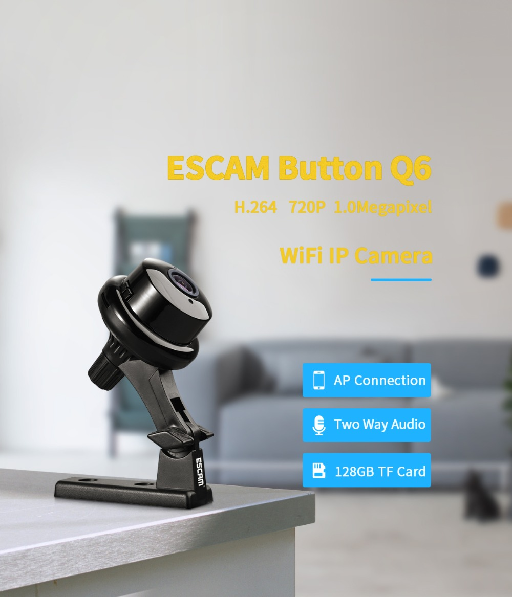 ESCAM Q6 720P Wireless Intercom IP Camera With Hotspot AP Connection