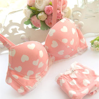 2014 Sweet Heart Sexy Underwear Set Push Up Lace Bow Young Girl Bra Set 100 Cotton