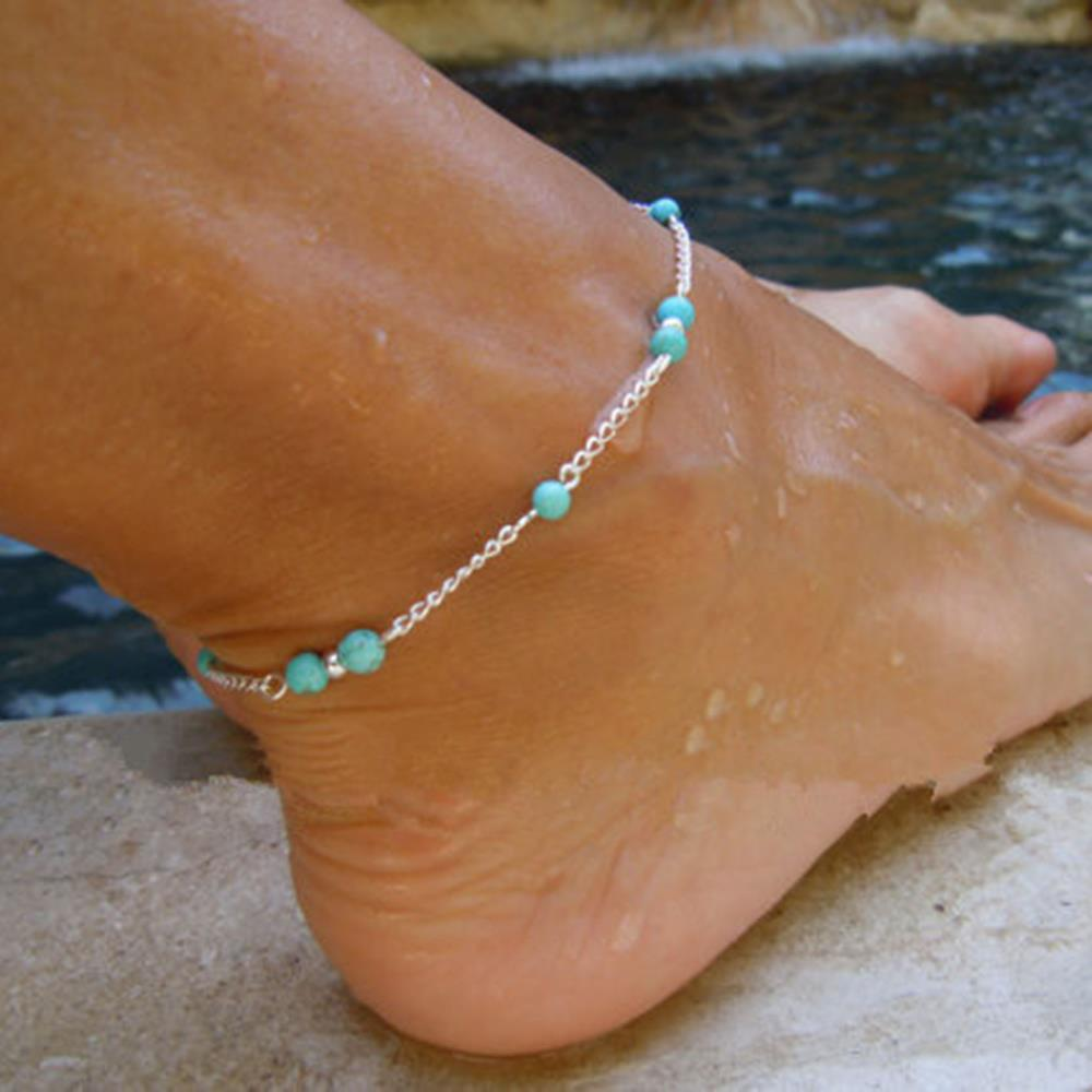 Green Beads Silver Chain Anklet Silver color Ankle Bracelet Foot Jewelry for Women 2017