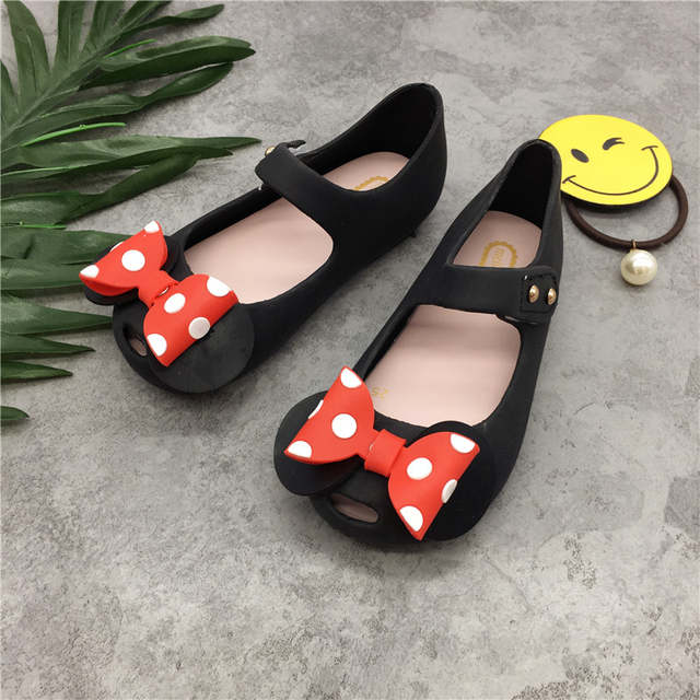 f6de6a0ca06 Mini Melissa Girls Jelly Sandals Mickey Bow Summer Children Mesh Hole Girls  Breathable Jelly Shoes Girls Sandals Shoes 14-16.5CM