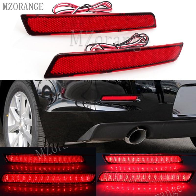 MZORANGE 2Pcs LED Car Rear Bumper Reflector Light Brake Stop Light Red Lens for Chevrolet Malibu 2012-15