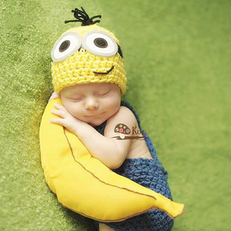 Newborn Photography Props	Accessories Baby Clothes Photography Minions Knit Baby Hat Set Baby Photo Props Studio Shoot Accessory
