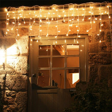 christmas outdoor decoration 4.5m Droop 0.4-0.6m curtain icicle string led lights 220V/110V New year Garden Xmas Wedding Party цена