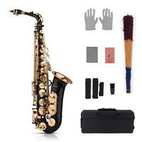 Muslady Eb Alto Saxophone Sax Brass Lacquered Gold 82Z Key Type with Carry Case Gloves Cleaning Cloth Brush Sax Straps Reeds
