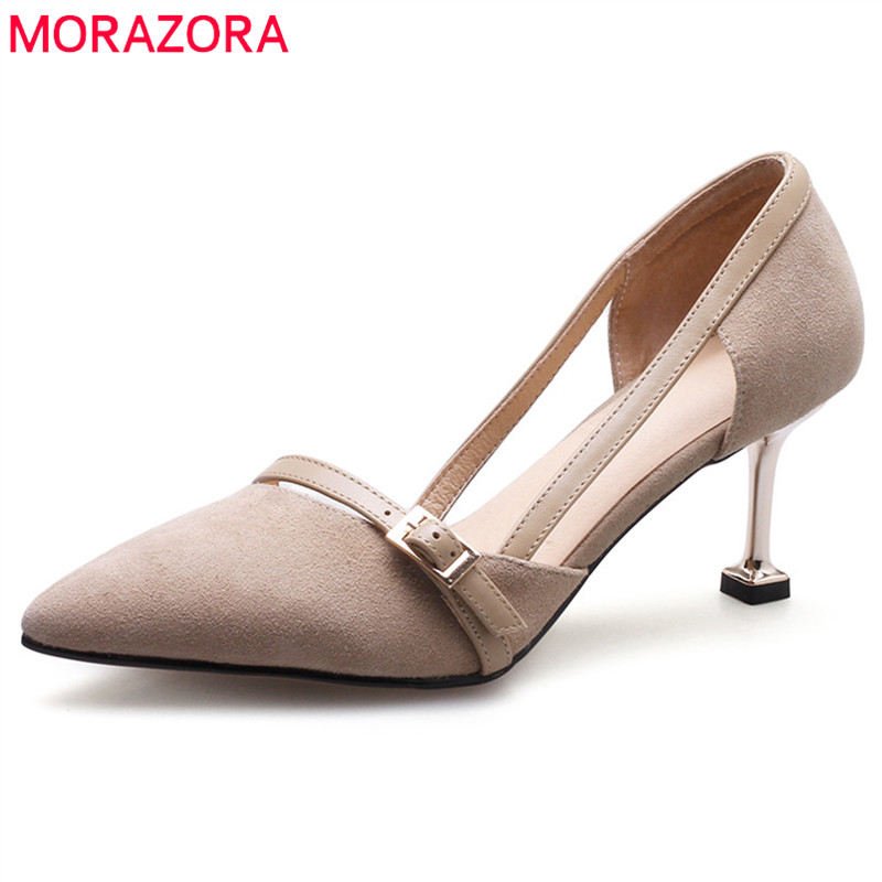MORAZORA 2018 hot sale pumps women shoes pointed toe suede leather ladies shoes party wedding shoes summer thin high heels shoes universe high heels pumps genuine leather women shoes ladies shoes natural kid suede 6 5cm thin heel party shoes for women h030