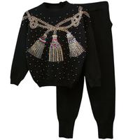 Women Knitted Beading Sweater Autumn Winter Knitting Tracksuit Women Sweater Harem Pants Set Two Piece