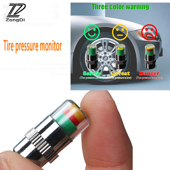 ZD 4Pcs Car Warning Pressure Tire Wheel Air Valve Caps Cover For Ford Focus 2 3 Fiesta Mondeo Ranger Kuga Seat Leon Ibiza Lexus image