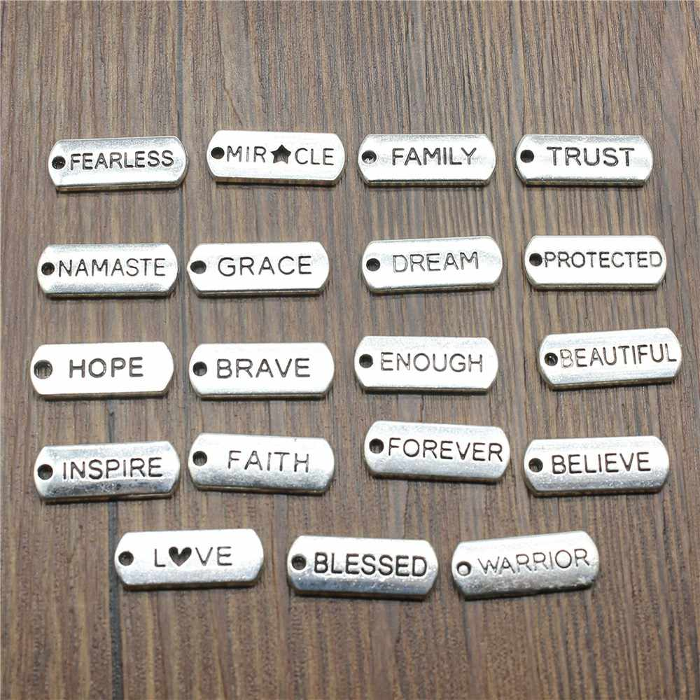 Word Tags Pendant Charms Blessed Faith Believe Trust Family Namaste Fearless Dream Hope Charms
