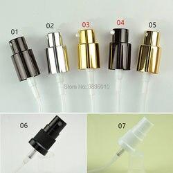 Tapas de botellas de aluminio negro plateado tapa de la bomba de pulverización cubierta de la cabeza de la bomba de cristal de 18mm cuello de la botella aplicable pulverizador para botellas de perfume F1075