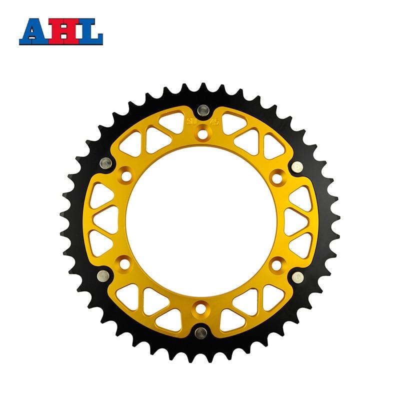 цена на Motorcycle Parts Steel Aluminium Composite 45 ~ 52 T Rear Sprocket For SUZUKI RM125 RV90 RM250 RMZ250 RMX250 RMX250S RMX450