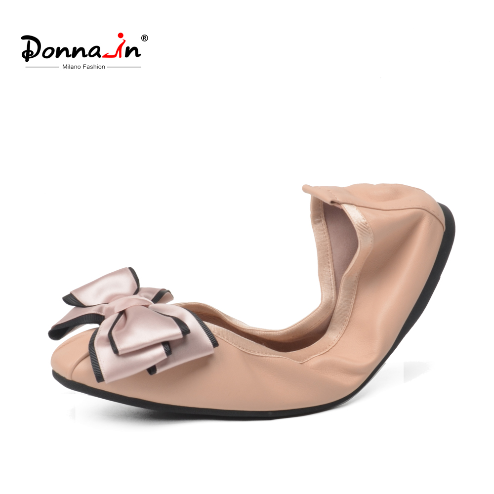Donna-in 2018 Women Ballerina Flat Shoes Genuine Leather Round Toe Bowknot Soft Ladies Shoes Comfortable Casual Slip on Shoes cresfimix zapatos women cute flat shoes lady spring and summer pu leather flats female casual soft comfortable slip on shoes