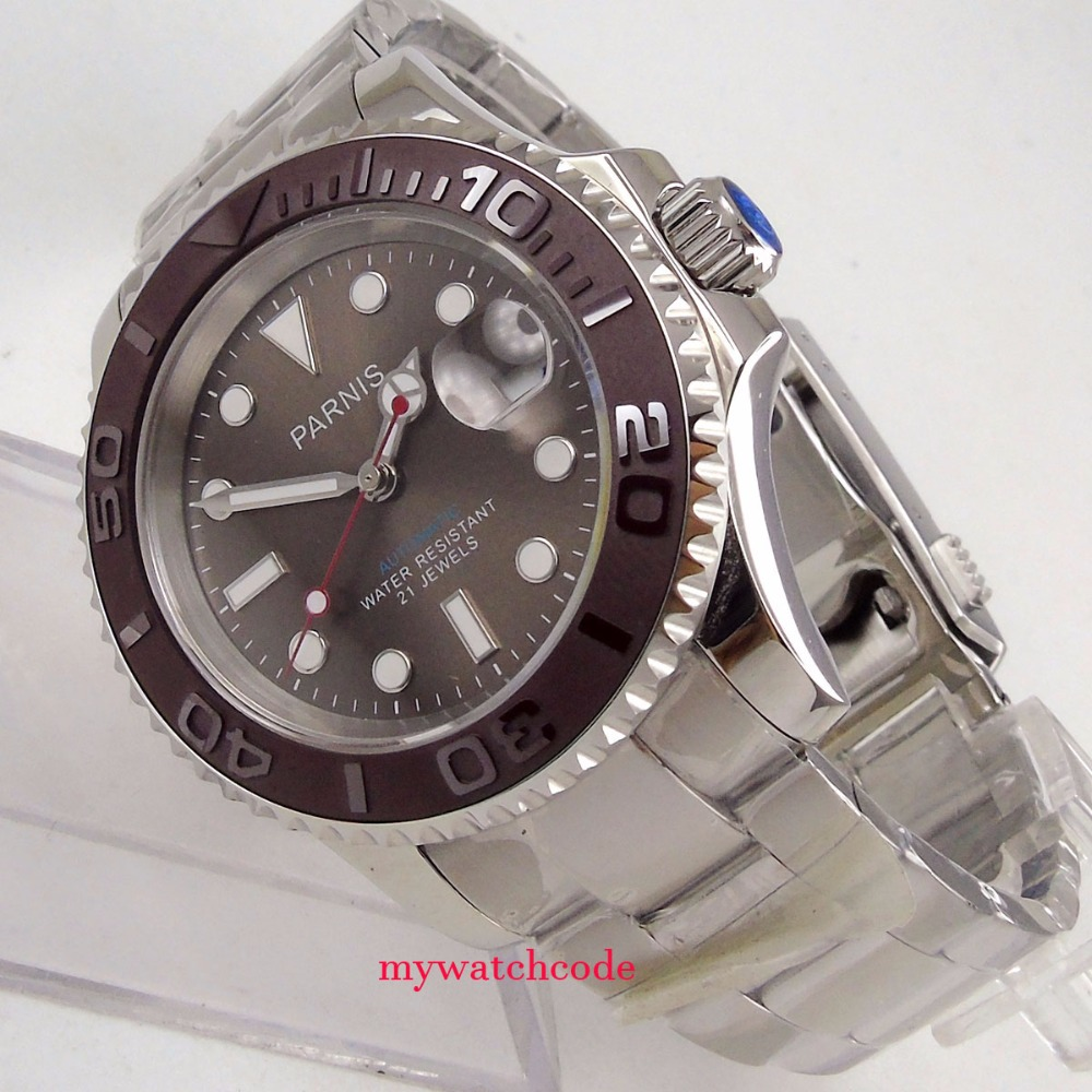 41mm Parnis gray dial red second hand Ceramic bezel miyota automatic mens watch тумба навесная акватон мадрид 80