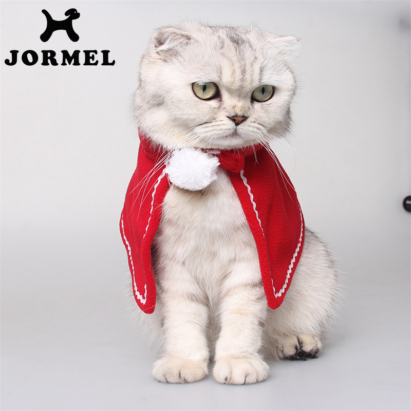 JORMEL Red Pet Cat Clothing Christmas Party Puppy Decorative Cat Clothes Costumes Cloaks Mantle with Set Suit For Cats