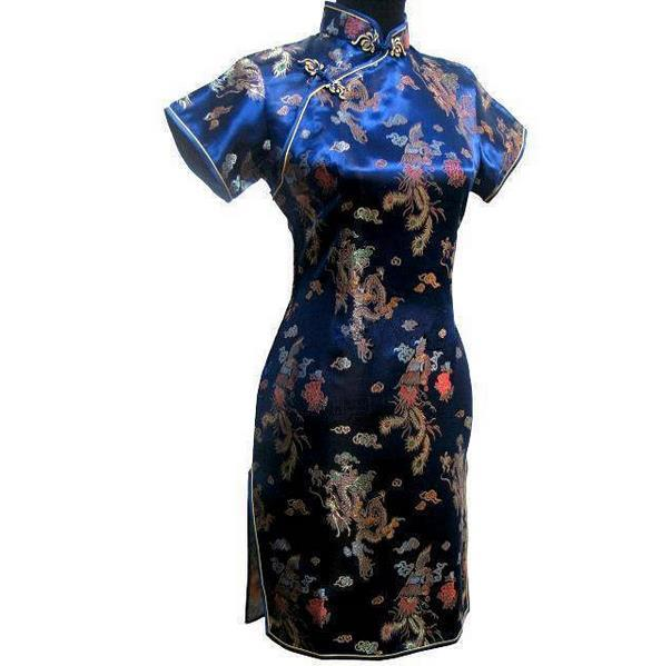 Navy Blue Chinese Women Traditional Cheongsam Dress Women Vintage Satin Qipao Sexy Mnii Dresses Plus Size 3XL 4XL 5XL 6XL