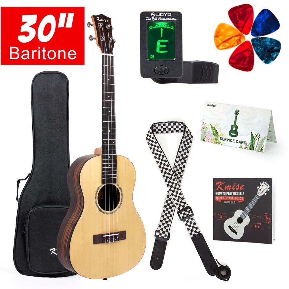 Kmise Baritone Ukulele 30 Inch Solid Spruce Ukelele Uke 4 String Guitar W/ Strap Tuner String