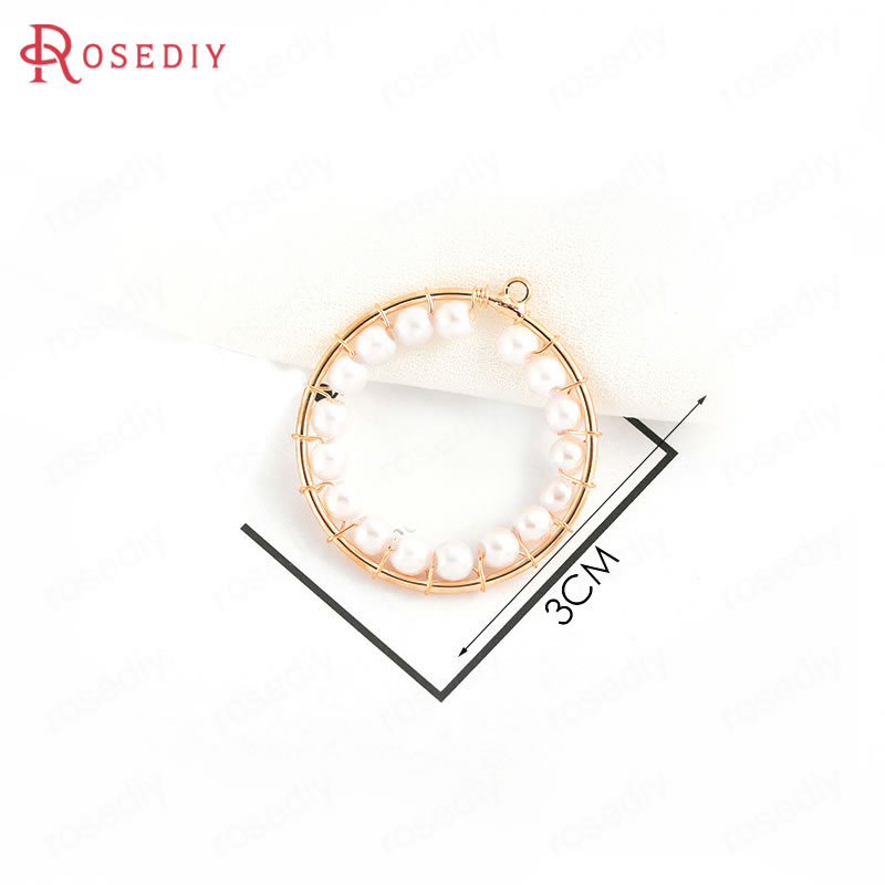 (34798)6PCS 3CM 24K Gold Color Brass with Imitation Pearls Round Circle Charms Necklace Pendants Diy Jewelry Accessories