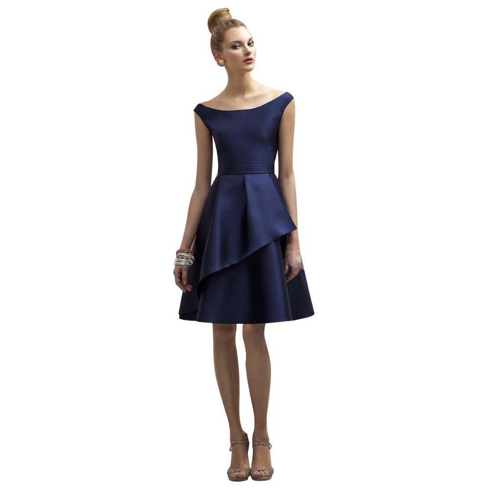 Online buy wholesale navy knee length bridesmaid dress from china navy blue simple cheap bridesmaid dresses 2017 hot sale a line cap sleeves satin knee ombrellifo Image collections