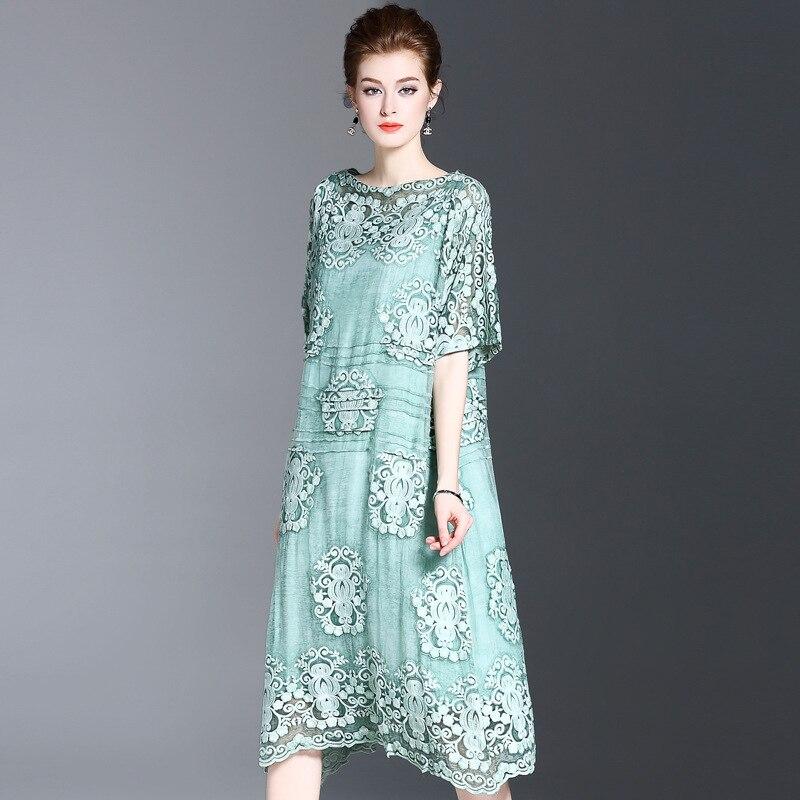 Hot Sale 2018 New Faux Silk Lace Embroidered Long Slash Neck Big Swing Dress Thin Elegant Temperament Short Sleeve Dress long sleeve embroidered swing dress