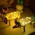 Creative Handmade Wood Deer Fireworks Creative 3D Lamp Night Light LED Power Bank Powerbank Lamps Wedding Decoration 2017 Hot