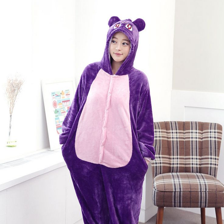 Adult Unisex Pajamas De Animales De Una Sola Pieza Lovely cat Full Sleeve Hooded Pajama Sets Couple Pajama Sets