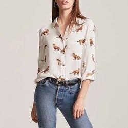 Животных печати v-образным вырезом с длинным рукавом Для женщин шифон блузки мультфильм Кнопка свободные модные женские топы 2018 осень