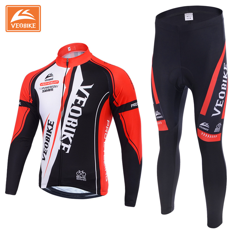 VEOBIKE Winter Thermal Brand Pro Team Cycling Jersey Set Long Sleeve Bicycle Bike Clothing Pantalones Ropa Ciclismo Invierno 2017 new pro team cycling jersey set bike clothing ropa ciclismo breathable short sleeve 100%polyester cycling clothing for mtb
