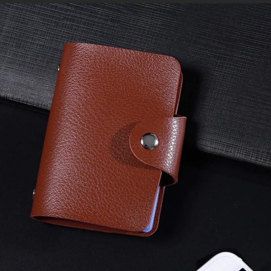 New PU Leather Function 24 Bits Card Case Business Card Holder Men Women Credit Passport Card Bag ID Passport Card Wallet H088 5