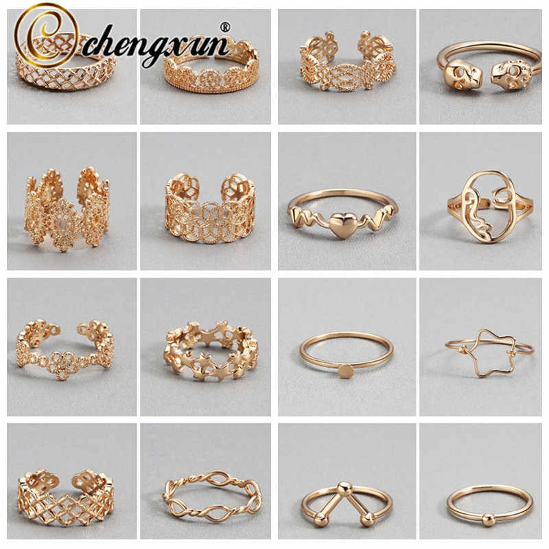 CHENGXUN Multiple Golden Rings Retro Hollow Flower Craft Skull Love Heart Charm Adjustable Open Finger Toe Women Ring Gift