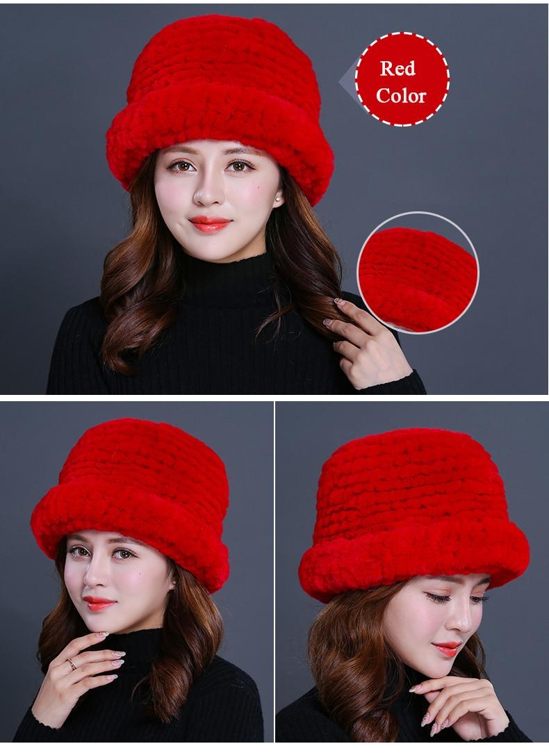 Luxury Natural Fur hats Fur Bucket Hat Russian Real Rex Rabbit Fur Hat Female Solid Women\`s Winter Cap Ladies (17)
