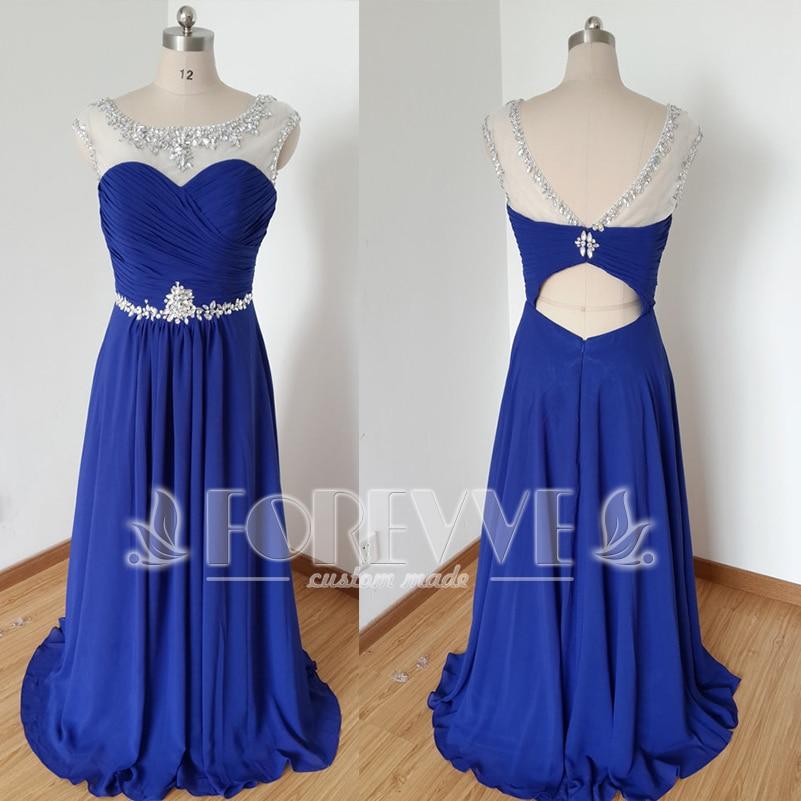 Real Photo Royal Blue Crystal   Prom     Dress   Long 2019 Sheer Pleat Party   Dresses   Birdesmaid Gowns Vestido De Festa Abendkleider