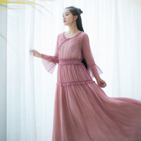 IRINAW686 new arrival 2018 summer see through long vintage ruched chiffon dress women