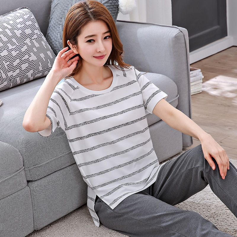 Women Pajamas Sets Short Sleeve Shirts + Pants Women Autumn Sleepwear Nightwear 100% Cotton Pajamas Sets Long Pajamas For Women