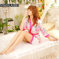 Kimono Floral Night Dress Nightgown Sleepwear Women Sleeping Dress Short Home Dress Sleepshirts Chemise De Nuit Gecelik QQ089#10