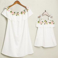 Mother Daughter Family Matching Outfits Lotus Leaf Shoulder Floral Dress Summer Girl Women Fashion Simple Dresses Clothes