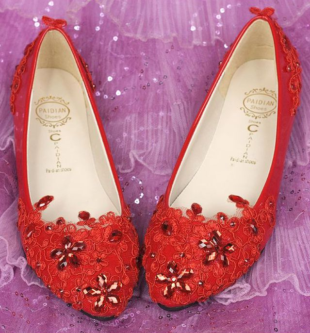 ФОТО Red flat heel woman's party shoes for spring summer, PR714 crystal rhinestones red lace wedding evening party dance flats sales
