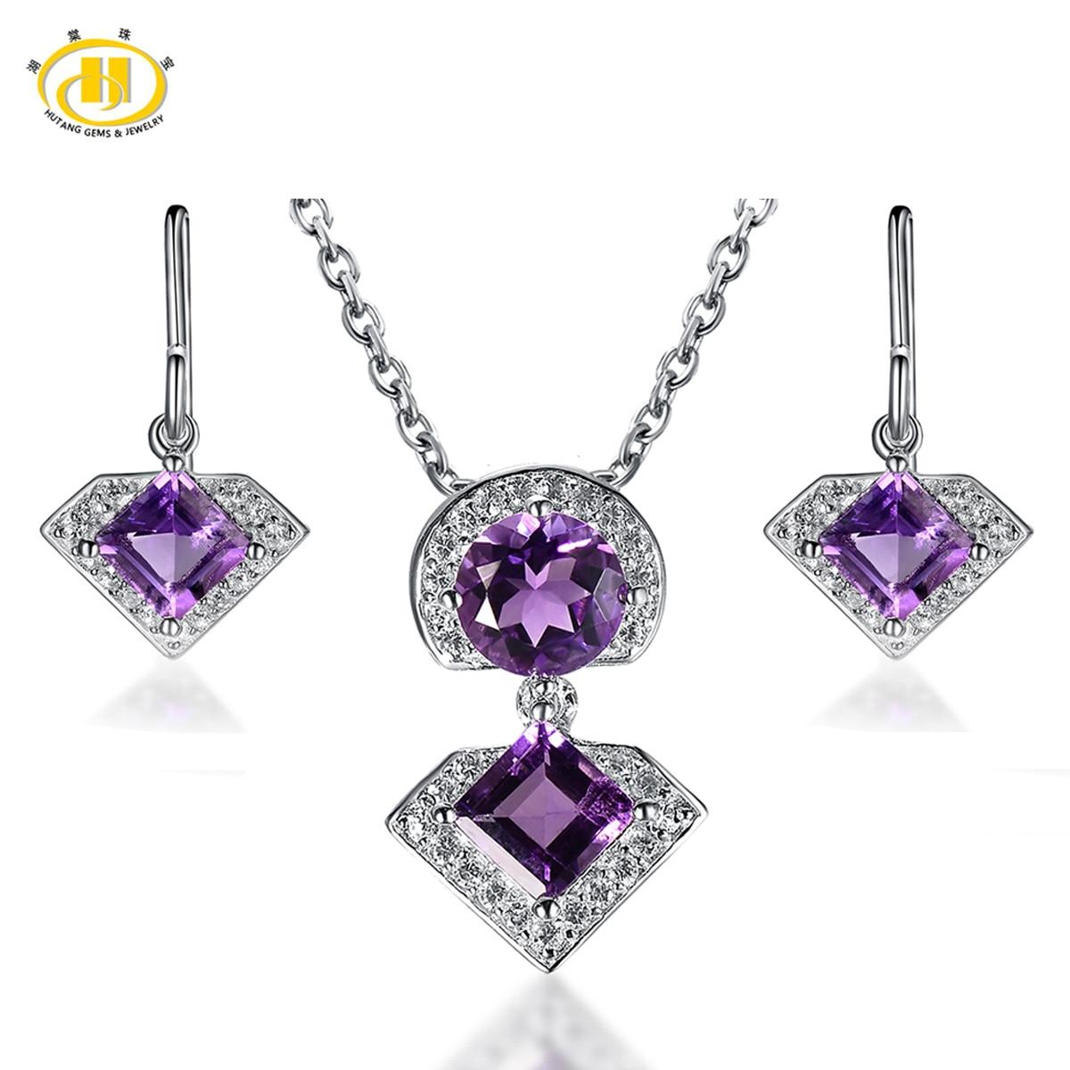 Hutang Diamond-Jewelry Sets Geometric Amethyst Stone Maxi Necklaces & Pendants Earrings for Women Fine 925 Silver Choker Earing chic multilayered geometric bullets choker page 2