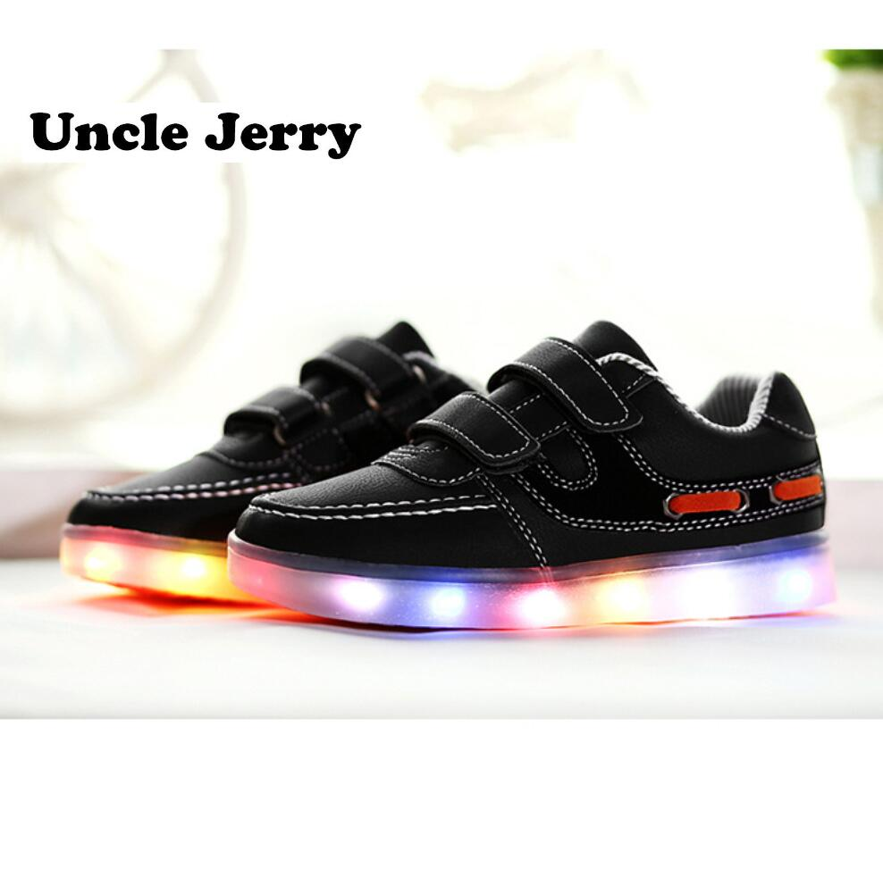 UncleJerry Kids Led Shoes USB chargering Light Up Sneakers for boys girls Glowing Casual Shoes Child Fashion Shoes