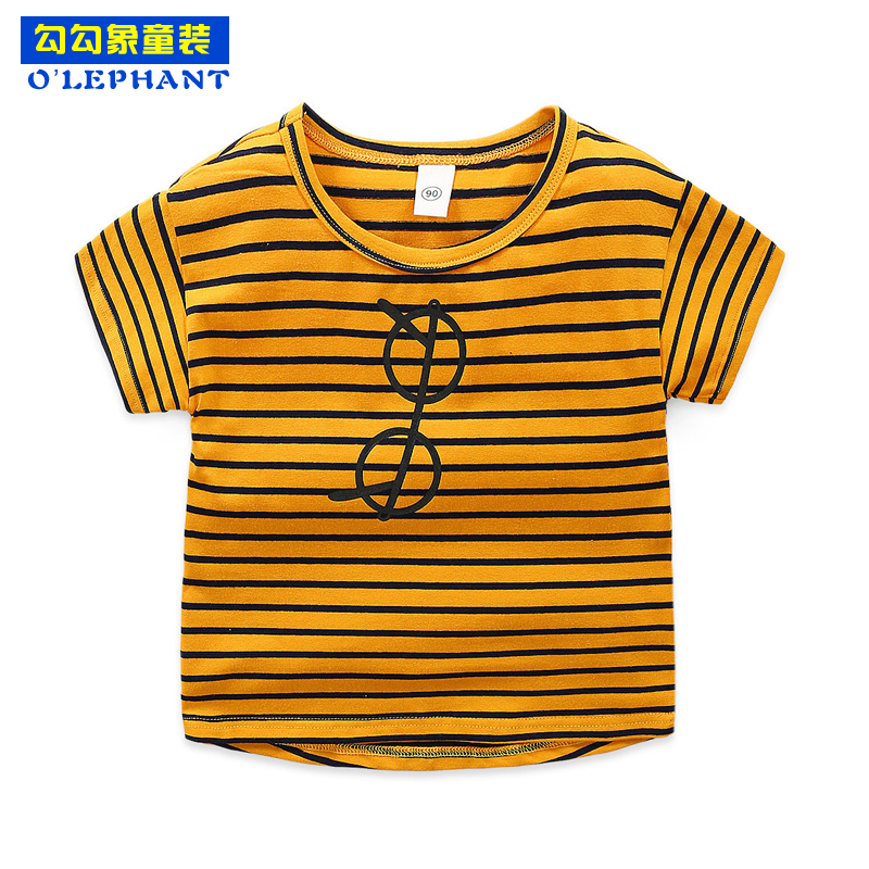 Cotton Striped Cartoon glass print boys t shirt O Neck short sleeves girls tops tees 2019 Toddler Fashion boutique kids clothing