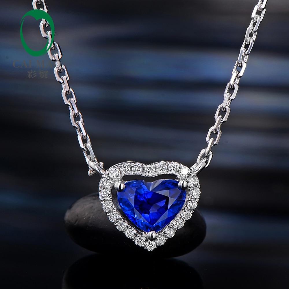 Caimao 0.67ct Heart Shape Blue Color Sapphire 14k White Gold Halo Diamond Engagement Pendant Chain 14k enamel heart angel pendant jewelryweb