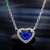 Caimao 0.67ct Heart Shape Blue Color Sapphire 14k White Gold Halo Diamond Engagement Pendant Chain