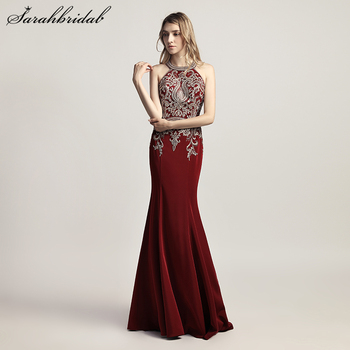 Robe De Soiree Elegant Long Formal Mermaid Evening Dress Burgundy Halter Crystal Beaded Sleeveless Sweep Train Party Gown LSX440