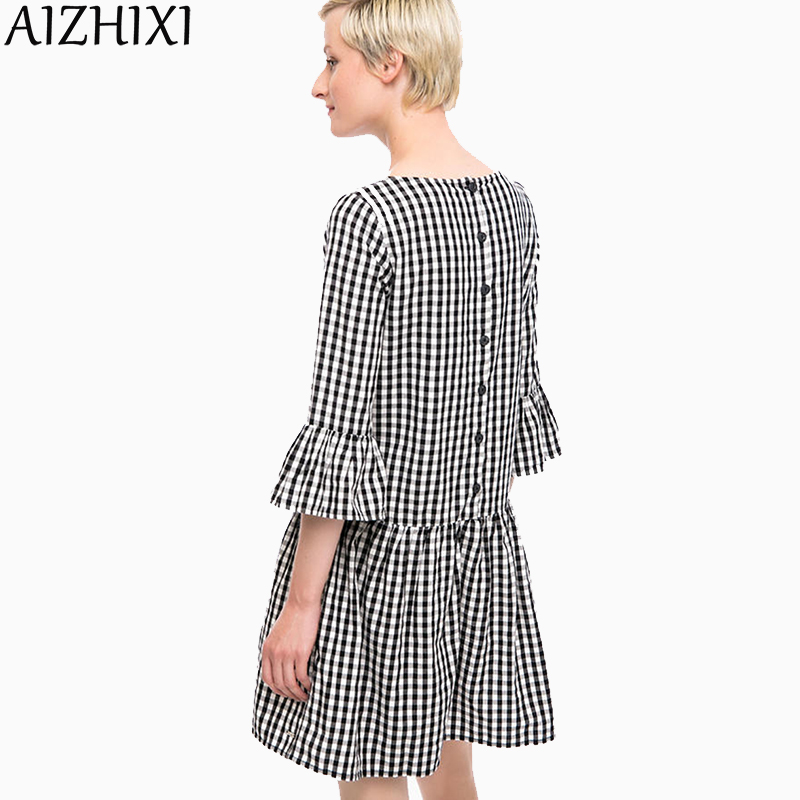 AIZHIXI Back Buttons Pleated Oversized Plaid Dress 2018 Autumn Women Ruffles Flare Sleeve Checkered Loose Casual Dress Vestidos