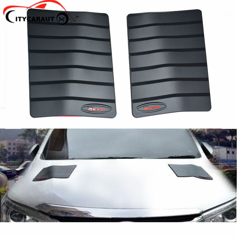 2 PCS Car Styling Stickers ABS Car Decorative Air Flow Intake Scoop Turbo Bonnet Vent Cover FOR HILUX REVO 2015-2017 CITYCARAUTO turbo air kr25 1
