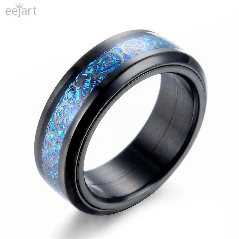L'anneau noir d'acier inoxydable de 316L peut être tourné anneaux bleus de Dragon de Nibelungen de Fiber de carbone de bande de mariage pour des hommes
