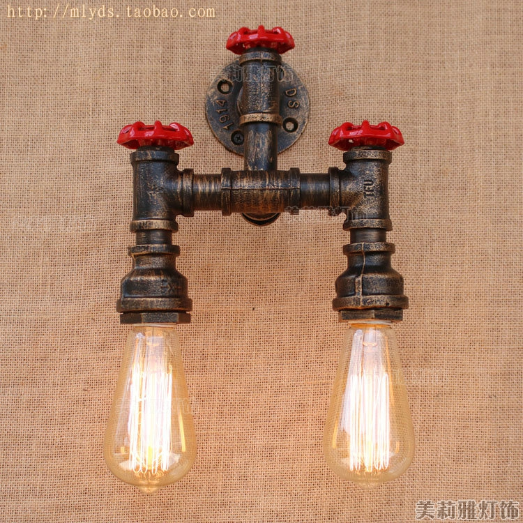 Retro Rustic Water Pipe Wall Lamp Vintage With 2 lights Fixtures Loft Style Industrial Edison Wall Sconce Applique MuraleRetro Rustic Water Pipe Wall Lamp Vintage With 2 lights Fixtures Loft Style Industrial Edison Wall Sconce Applique Murale