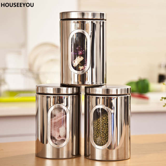 5fbc96a3e Stainless Steel Food Storage Bottles Jars Glass Window Kitchen Candy Tea Storage  Containers Home Storage