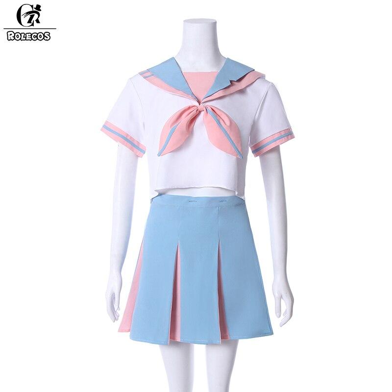 ROLECOS femmes uniforme couleur rose bleu t-shirt sans manches et jupe japonais école fille uniforme pour les femmes Cosplay Costume uniformes