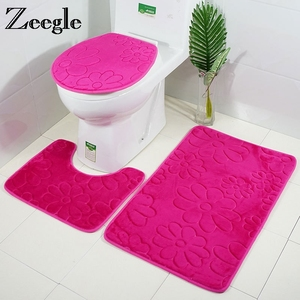 Image 2 - Zeegle 3pcs Bathroom Mat Set Toilet U Type Mat Shower Mats Absorbent Foot Rug Non slip Floor Mat Pedestal Rug Lid Toilet Cover