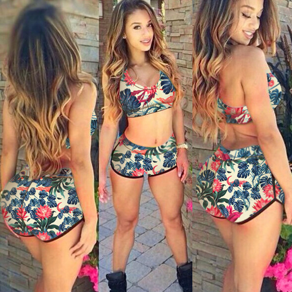 Bikini Swimwear Women Floral Printed Bikini Set Padded high waist Beachwear Bathing Suit 5